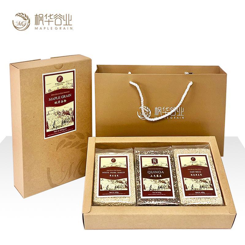 枫华谷业 进口谷物礼盒 (荷兰薏米400g+加拿大脱壳燕麦米400g+南美洲三色藜麦400g)