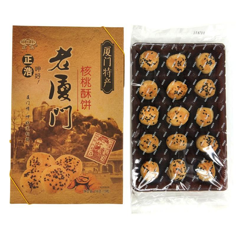 正浩 老厦门-核桃酥饼158g*24盒/箱
