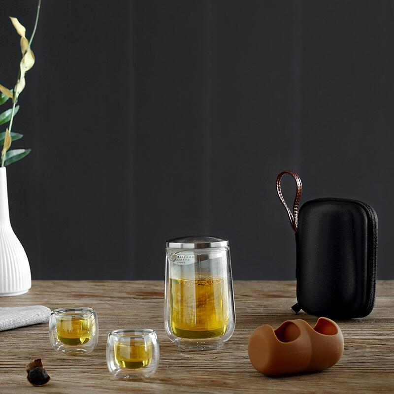 京造 便携旅行功夫茶具套装 一壶二杯玻璃泡茶壶