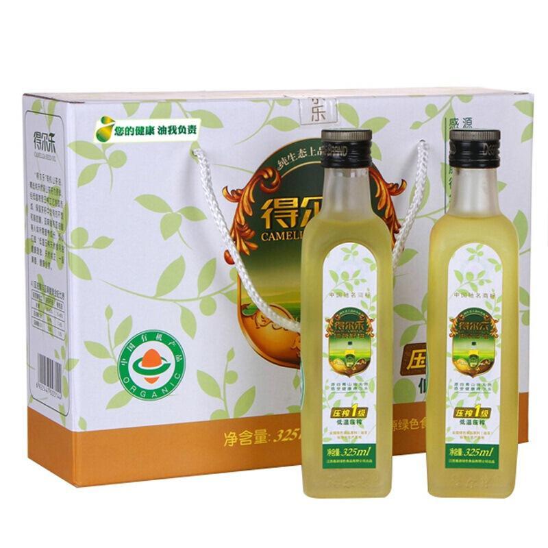 得尔乐 有机山茶油礼盒 茶籽油325ml*4瓶食用油 冷榨一级 送礼