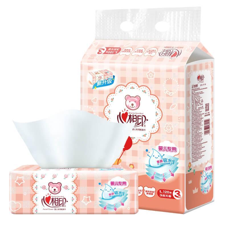 心相印婴儿抽纸 3层120抽面巾纸*3包婴儿纸巾(大规格提装销售)