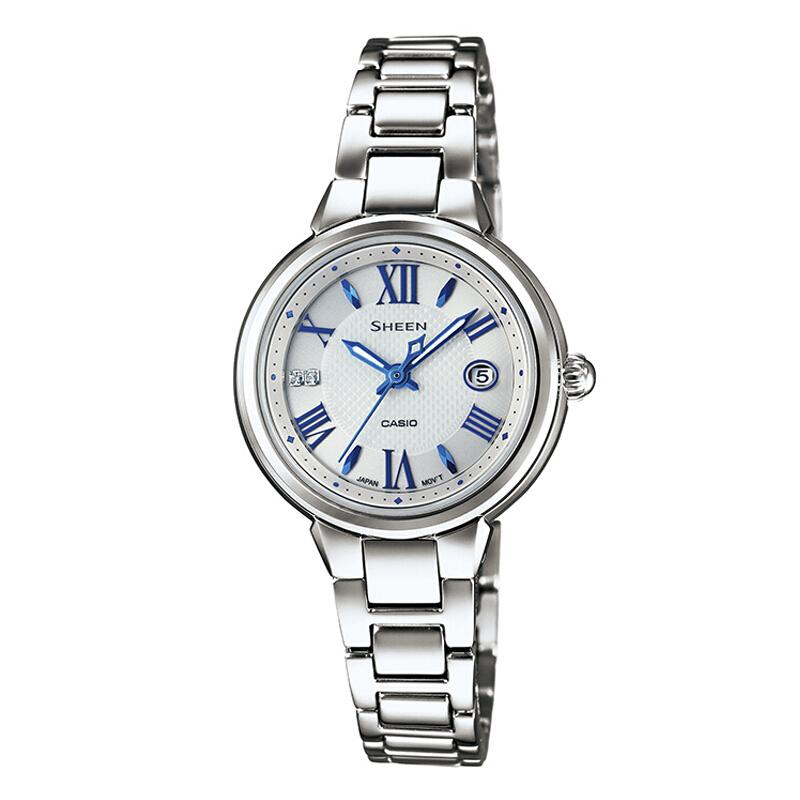 卡西欧(CASIO)手表 SHEEN 女士人工合成蓝宝石玻璃时尚腕表 SHE-4516SBD-7A
