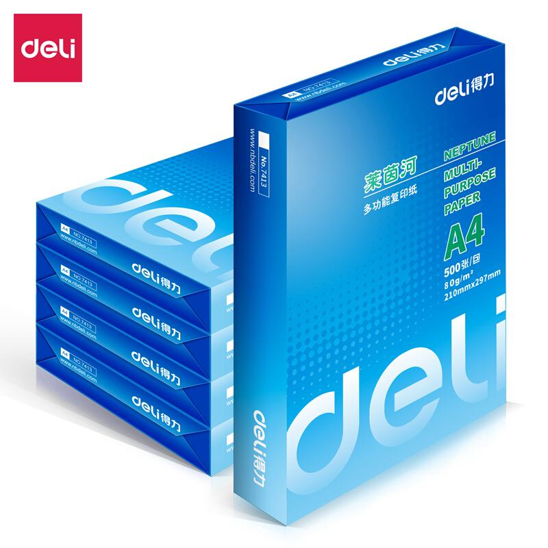得力(deli)莱茵河 80g A4 复印纸 500张/包 5包/箱(2500张)