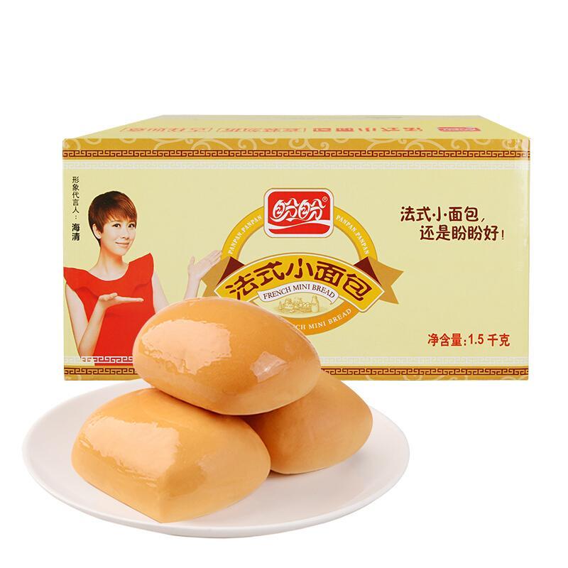 盼盼 法式小面包 早餐饼干糕点整箱装奶香味1500g