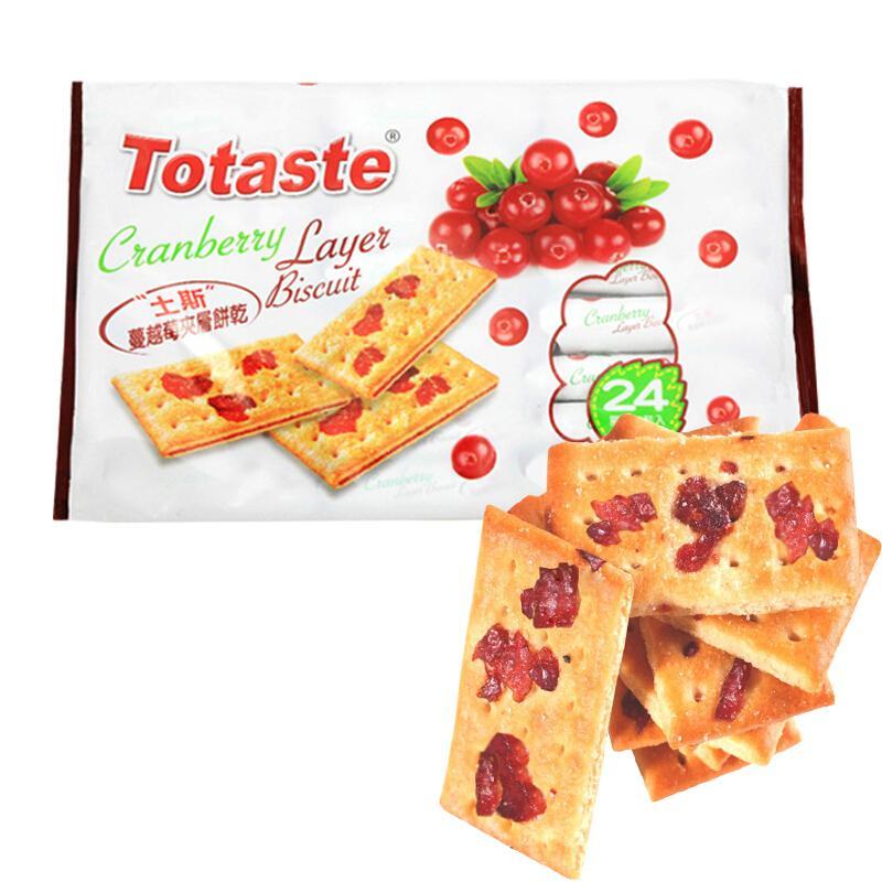 土斯(Totaste) 蔓越莓饼干(含蔓越莓果粒) 休闲零食蛋糕甜点心 实惠分享装360g