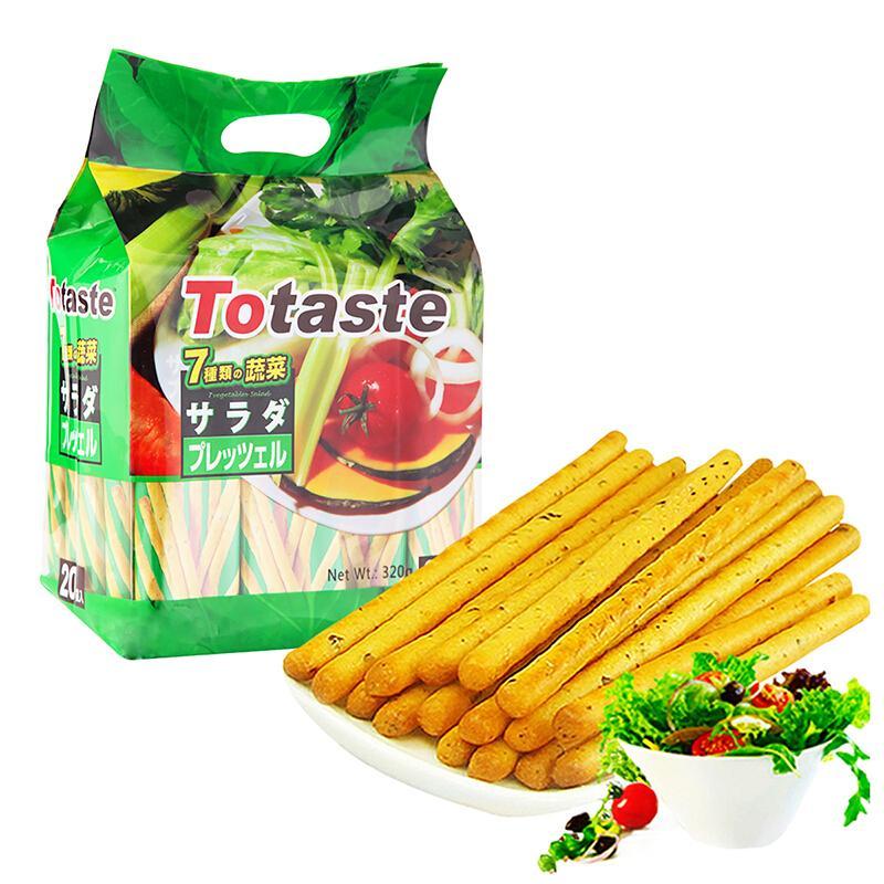 土斯(Totaste) 混合蔬菜味棒形饼干 手指饼干 磨牙棒 休闲零食点心小吃 独立小包装320g