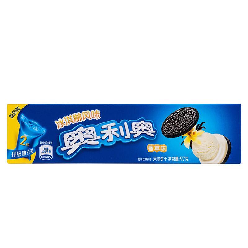 奥利奥(Oreo) 冰淇淋香草夹心味夹心饼干 办公室下午茶休闲零食蛋糕糕点 97g