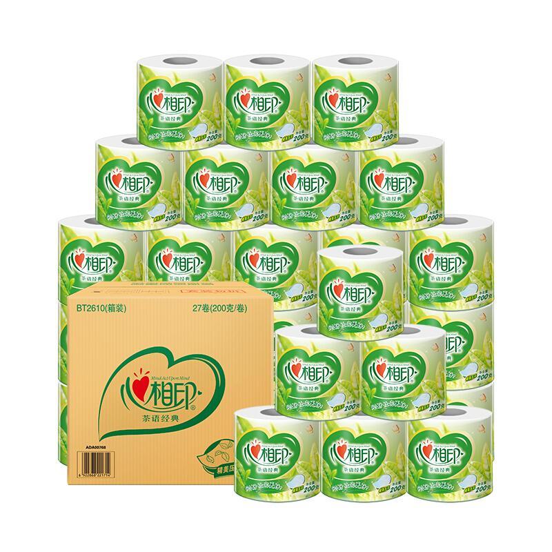 心相印卷纸 茶语系列卫生纸巾4层200g*27卷筒纸(整箱销售)