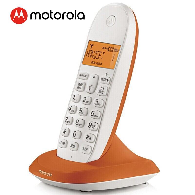 摩托罗拉(Motorola)数字无绳电话机 无线座机 单机 办公家用 C1001XC(橙色)