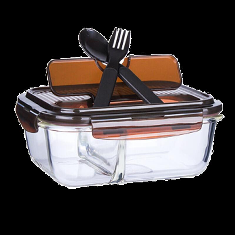 乐扣乐扣 保鲜盒 分隔耐热玻璃便当盒饭盒 带勺叉 LLG447CLB 咖啡色 1020ml