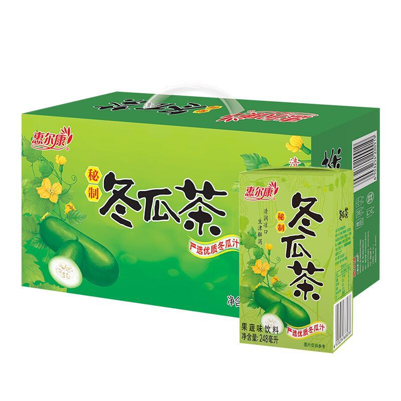惠尔康 茶饮料 秘制冬瓜茶 凉茶饮品 248ml*24盒 整箱饮料
