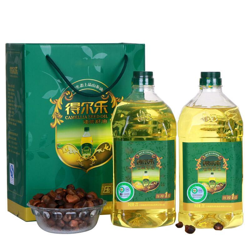 得尔乐 有机山茶油礼盒 茶籽油2L*2瓶食用油 压榨一级 送礼