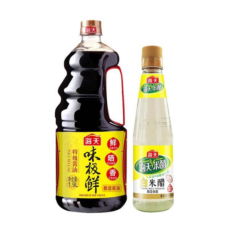 海天 生抽 味极鲜特级酱油 1.9L+海天 白米醋 450ml 中华老字号