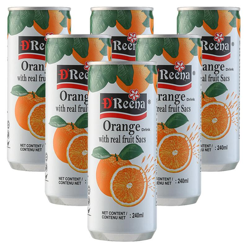 马来西亚进口 特丽娜 D'Reena 橙子果肉饮料 橙子果汁 240ml*6(6罐装)