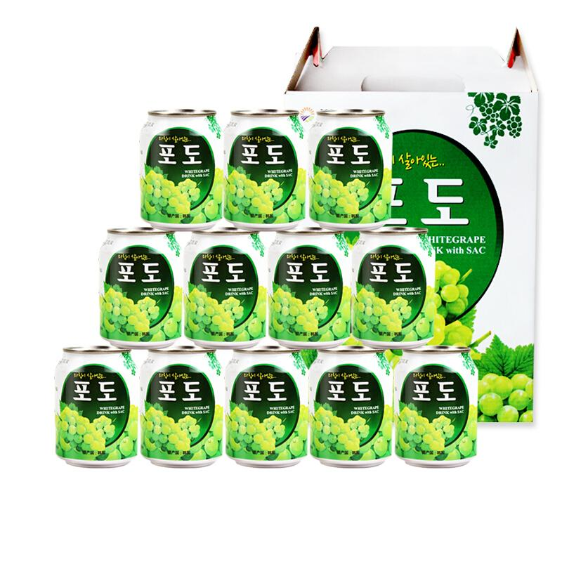 韩国原装进口 九日(JIUR)葡萄果肉果汁饮料 238ml*12罐 果汁礼盒
