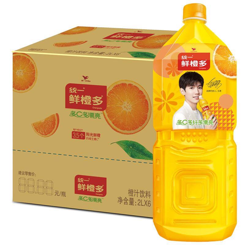 统一 鲜橙多 2L*6瓶 整箱装 橙汁饮料 (新老包装随机发货)