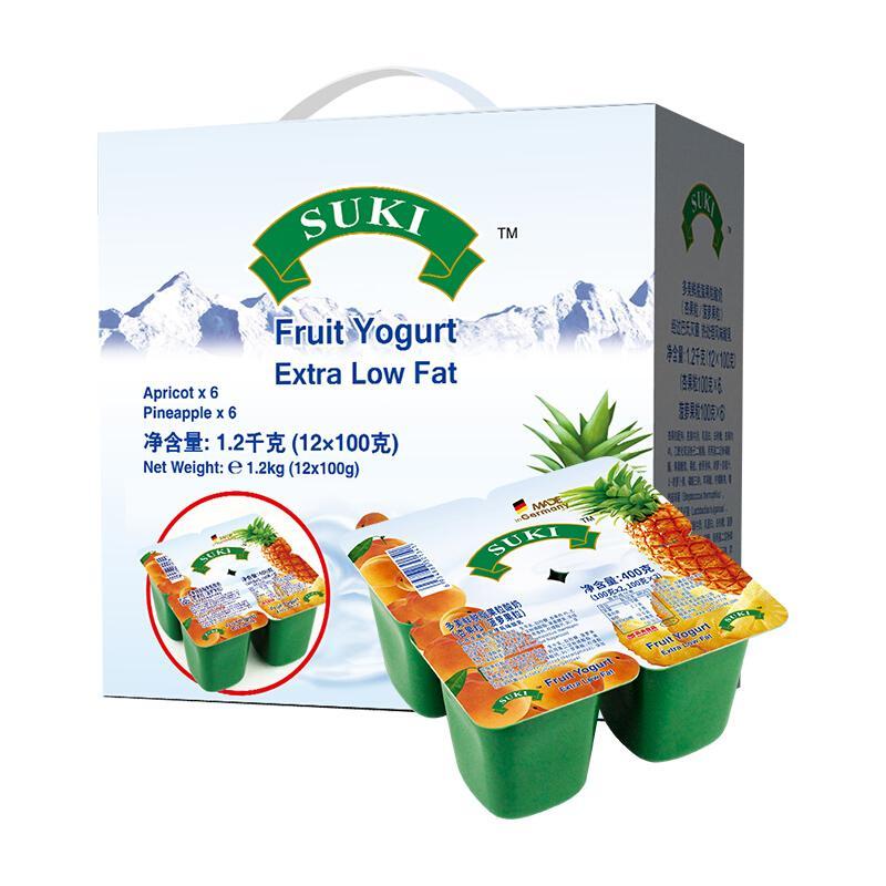 德国进口酸奶 多美鲜(SUKI)杏 菠萝果粒 脱脂酸奶 杯装酸奶 100g*12杯 礼盒