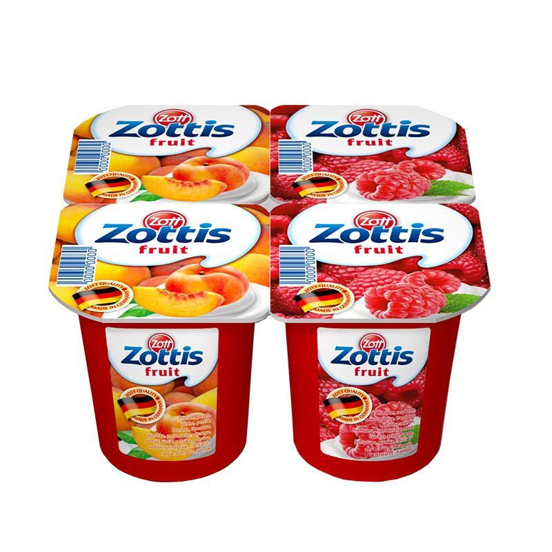 卓德(zott)德国进口酸奶整箱装 脱脂含乳饮品(水蜜桃口味+覆盆子口味)115g*12杯/箱 常温