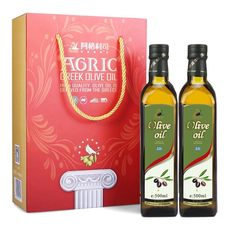 阿格利司希腊原装进口纯正橄榄油500ml*2瓶食用油礼盒装