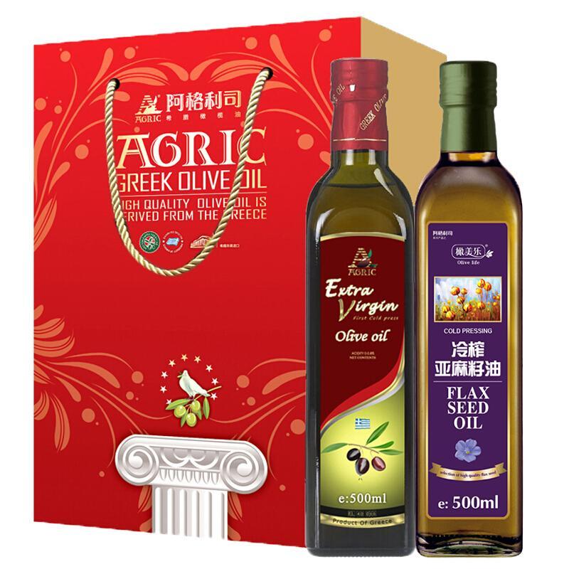 阿格利司(AGRIC)特级初榨橄榄油500ml+冷榨亚麻籽油500ml中秋礼盒 健康组合食用油礼盒