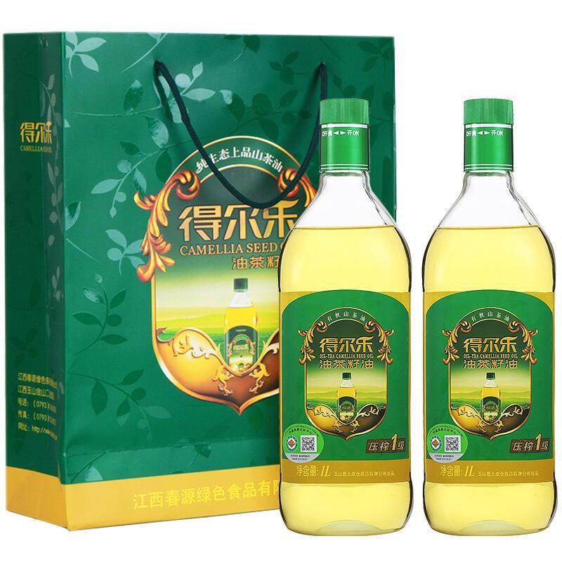 得尔乐 有机山茶油礼盒1L*2瓶食用油 压榨一级 中秋送礼礼盒