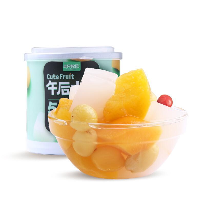 三只松鼠 什锦水果罐头 方便食品新鲜糖水黄桃椰果菠萝200g/罐