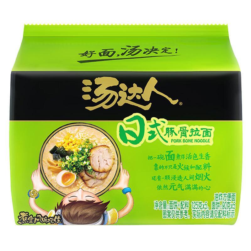统一 方便面 汤达人 日式豚骨味方便面 五连包