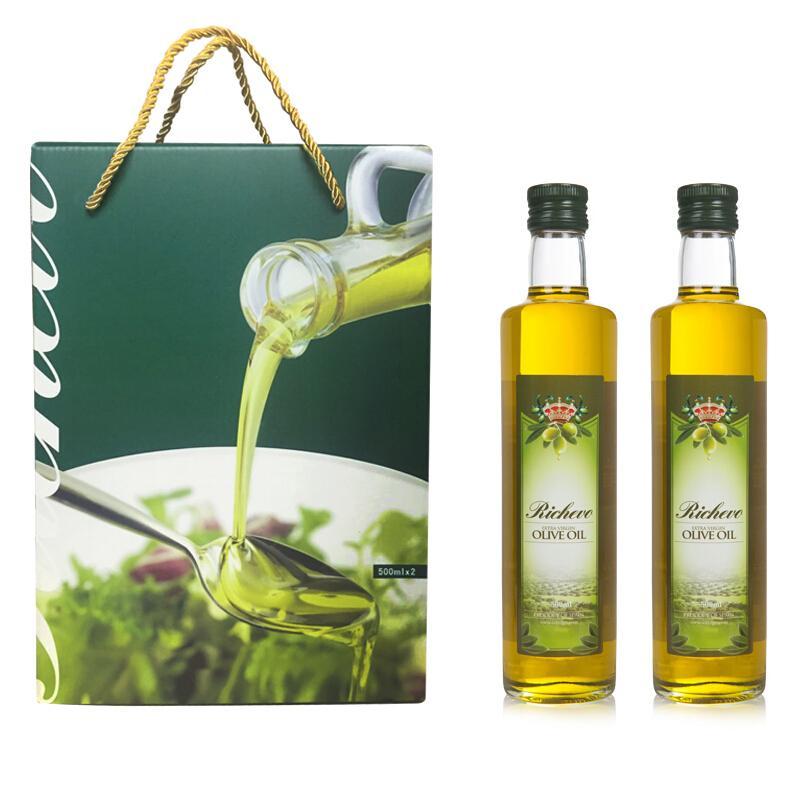 【礼盒装】瑞驰欧(Richevo)西班牙进口特级初榨橄榄油臻尚简装500ml*2礼盒