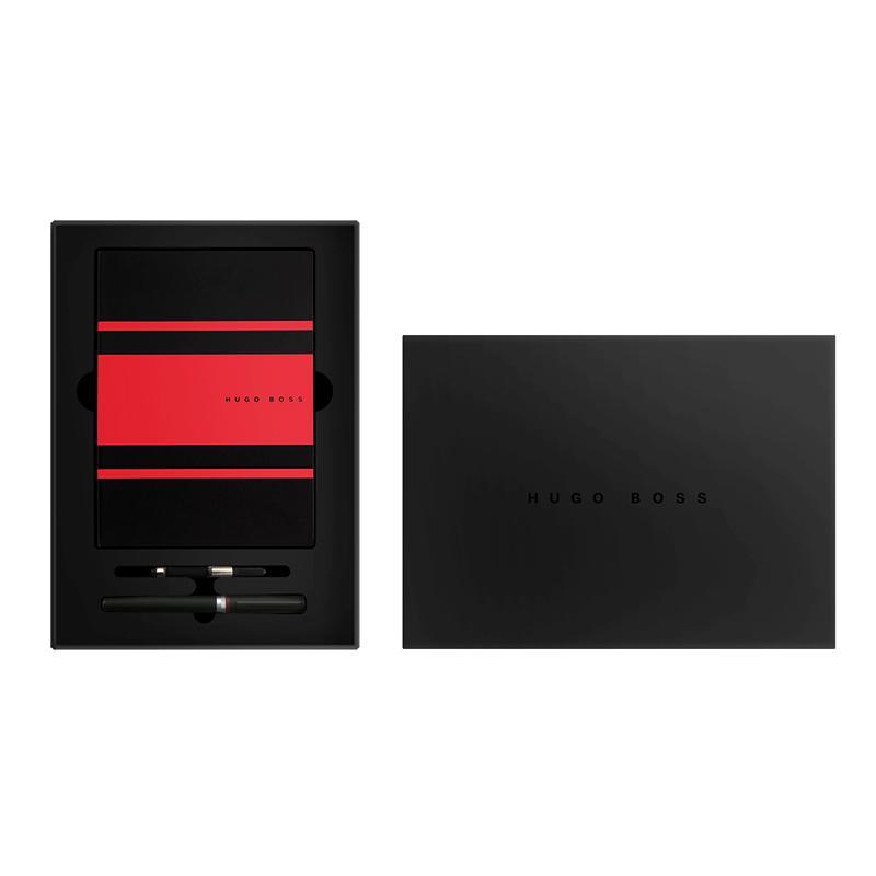 HUGOBOSS 标志系列黑色墨水笔+红色传动本 套装