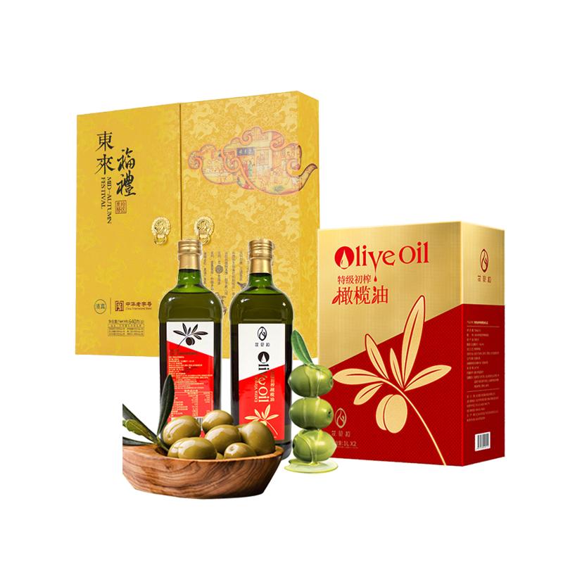 东来顺东来福礼月饼礼盒640g+艾贝拉特级初榨橄榄油礼盒1L*2