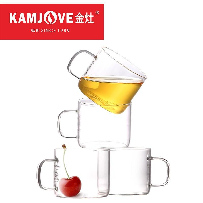 金灶(KAMJOVE) K-106耐热玻璃小茶杯 花茶杯 办公水杯茶杯茶具套装 四只装